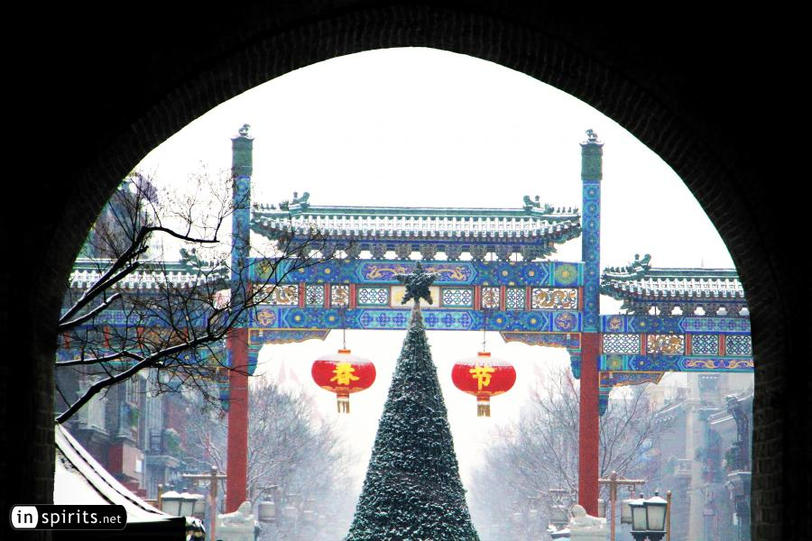 A Snow-Clad Christmas at Beijing Old Street