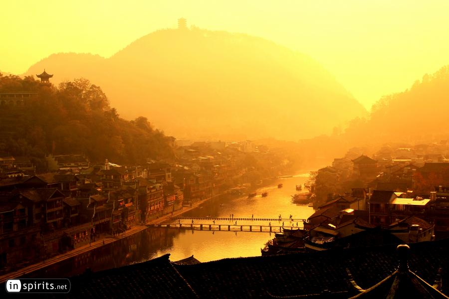 Golden River in Fenghuang Chinese Village at Sunrise