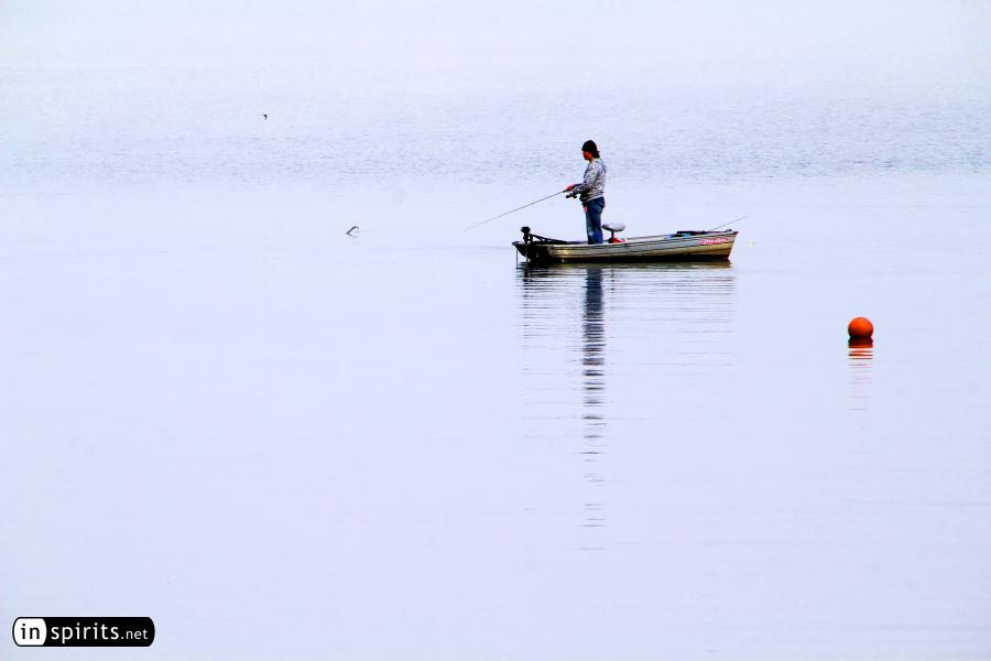 Morning Fishing at Foggy Kawaguchi Lake