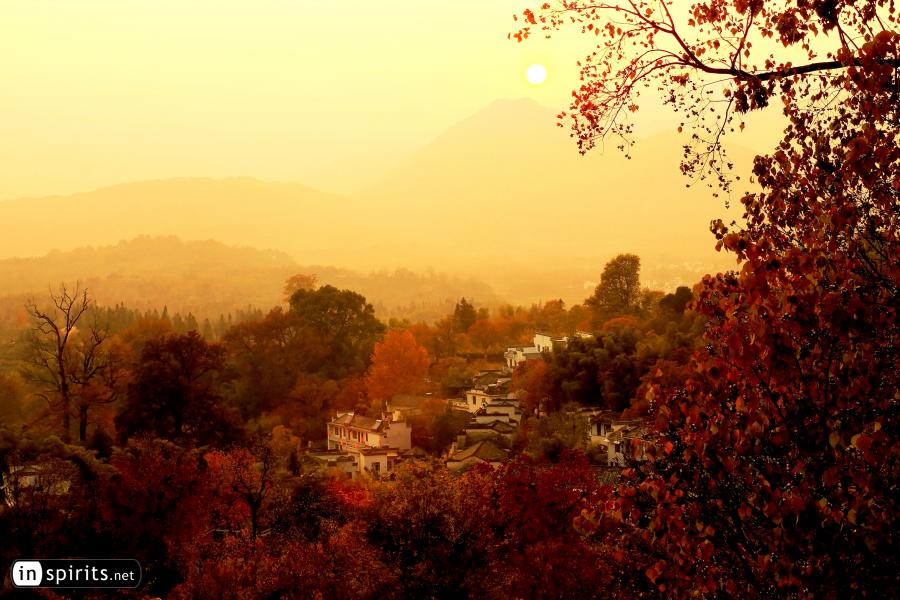 Autumn Colors Shine in a Huangshan Village at Sunset