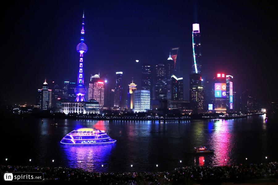 Shanghai's Skyline at the Bund is lit up at New Year's Eve