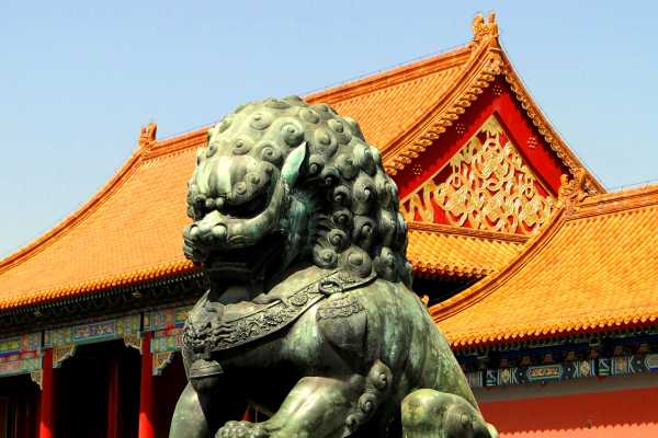 Stone Lion in Forbidden City in Beijing