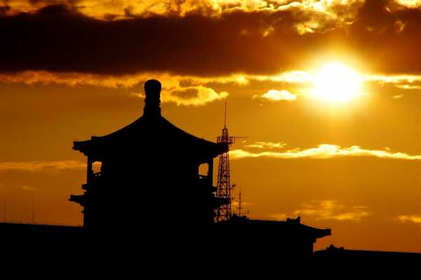 Pagoda roof in Beijing at sunset