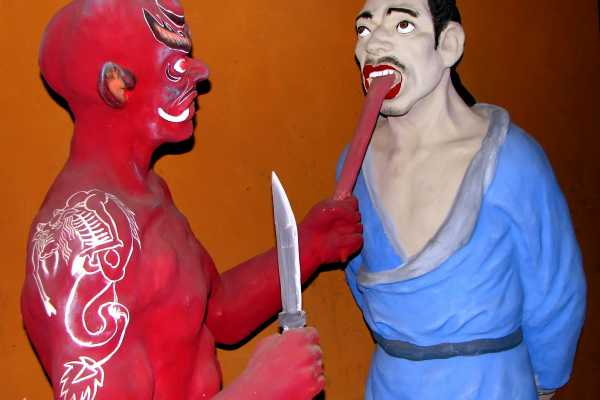 Diorama of punishment in Taoist hell