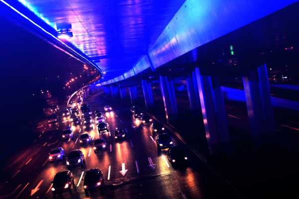 Shanghai's blue-lit Yan'an highway