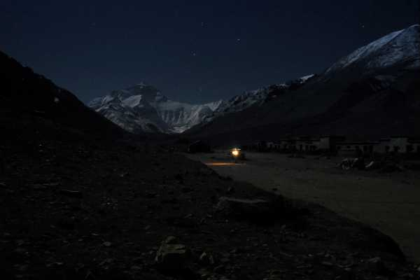 Mount Everest Base Camp in the Himalayas at Night