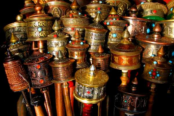 Amazing collection of Tibetan prayer wheels in Lhasa