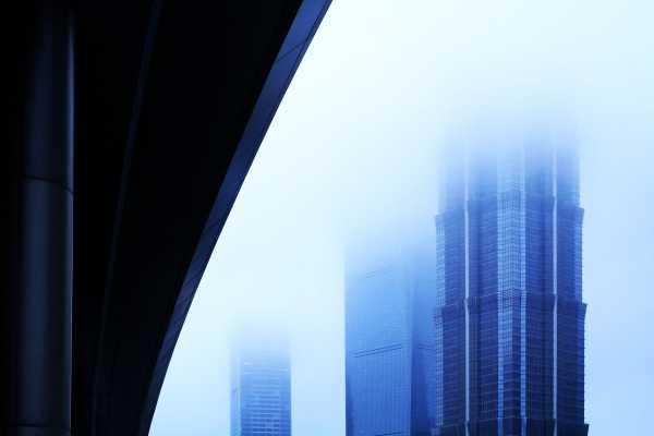 Shanghai's highest skyscrapers disappear in the fog