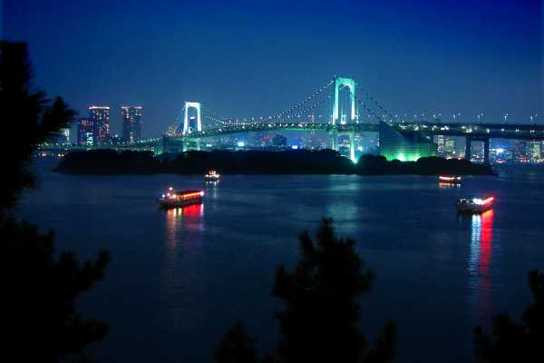 Tokyo Bay and Rainbow Bridge at Night